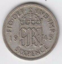 Sixpence 1945 George Vl