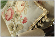 Wool Woven Aubusson Pillow BLUE PINK Shabby French Chic Rose Cushion Cover 16X12