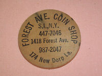 VINTAGE FOREST AVE COIN SHOP STATEN ISLAND NY WOOD AD INDIAN NICKEL