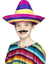 Kids Girls Boys Multi Coloured Mexican Sombrero Fancy Dress Costume Outfit Hat