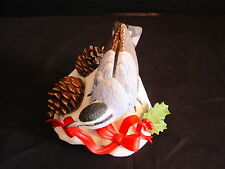 2001 Lenox Limited Edition Christmas Nuthatch Figurine ~ Holly and Pinecone Euc