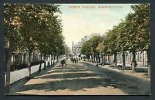 Aberystwyth North Parade street trees view Valentines old vintage postcard