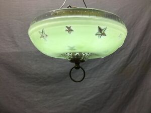 Vintage Ceiling Light Fixture Embossed Star Pattern Art Deco Old Green 1020-20B