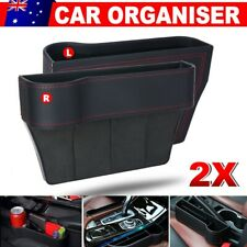 2x Car Seat Gap Slit Storage Organizer Caddy Keys Phone Holder Box PU Leather