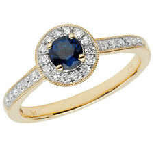 Cluster Sapphire Round Yellow Gold Fine Rings