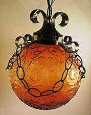 globe swag ceiling fixture embossed amber wrought iron look swag chain.