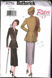 6256 Butterick SEWING Pattern Misses Fitted Lined Jacket Skirt Retro 1947 Suit