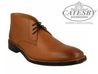 Mens Leather Ankle Boots Tan Catesby Lace Up Smart Chukka Desert Shoes