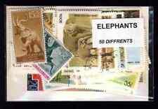Eléphants 50 timbres différents oblitérés