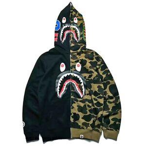 Men Fashion Shark Head Long Sweater Full Zip Camouflage Hoodie Jacket Coat New