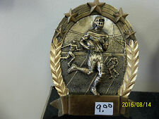 """Football trophy or award, about 6"""" tall, engraving included, oval, stands"""