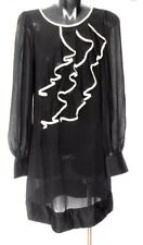 REVIEW  dress, black, with cascade frill, sz. 8   alluring party style