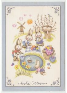 Rabbit Humanized Game Basket Eggs Coloured Card Greeting Cards Vintage