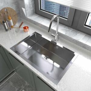 70 X 45 Large Undermount Single Bowl Stainless Steel Kitchen Sink Drainer,Waste