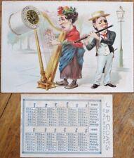 Harp Playing Woman 1890 Victorian Trade Card & Pocket Calendar - Coats Thread