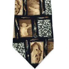 """Jerry Garcia Tie 100% Silk Abstract Print Hand Sewn Brown Black Mens Necktie 55"""""""