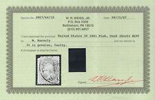 "US Sc# 64 USED { W/ ""WEISS CERT 3c WASHINGTON } SCARCE ""PINK"" SHADE 1861 CV$ 650"