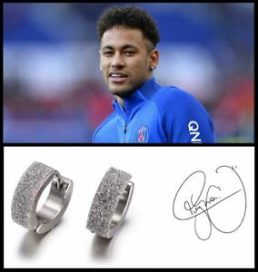 Men's/Boy's: Neymar - PSG Brazil 18ct White Gold Plated Frosted Crystal Earrings