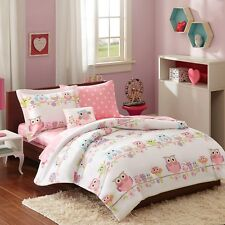 Pink, Blue & Purple Owl Girls Full Double Comforter Set (8 Piece Bed In A Bag)