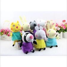"8Pcs Peppa Pig Friends Plush Doll Stuffed Toy 7.5"" Suzy Sheep Rebecca Rabbit"
