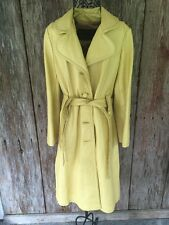 DAN DI MODES yellow Leather Long Belted Leather Coat Medium Vintage