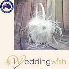 Ivory Flower Girl Basket with Feathers and Rhinestones, Satin Wedding Basket
