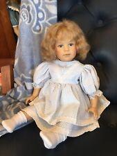 Gotz Sissel Skille artist doll little girl blue white dress excellent condition