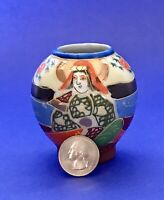 "⭐️Vintage Hand-Painted JAPANESE VASE URN 2-3/4"" Tall Porcelain Moriage Beading"