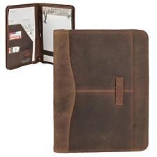 Cartellina documenti A4 in pelle marrone antico Harolds con chiusura zip NUOVO