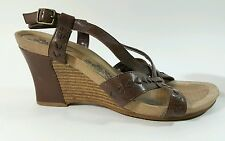 Hush Puppies womens brown leather wedge heel sandals UK 6 Eu 39