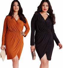 Plus Size V Neck Everyday Wrap Dresses for Women
