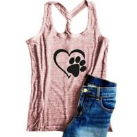 Women Paw Love Tank Tops Dog Mom Shirt T-shirt Summer Funny Top Vest Plus Size
