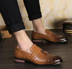 Mens Retro Brogue Casual Slip On Tassels Casual Dress Shoes Loafers Pointy Toe