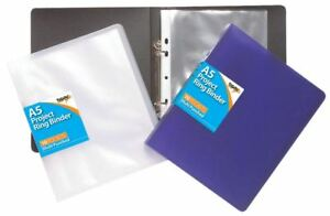 A5 slim ring binder + 10 punched pockets School Office Document Folder Organiser