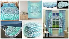 Ombre Mandala Tapestry,Duvet,Ottoman,Floor Pillow Cover Indian Round Room Set
