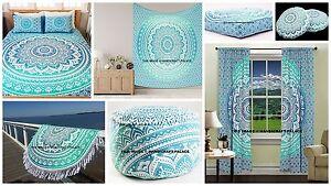 Ombre Mandala Tapestry, Duvet, Ottoman, Floor Pillow Cover Indian Round Room Set