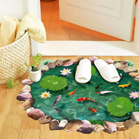 3D Wall Stickers Removable Lotus Carp Floor Fish Room Decal Gift Bathroom Gift