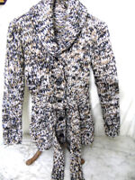 Vintage Womens Handmade Chunky Knit Black/Brown/White Cardigan Sweater Jacket S