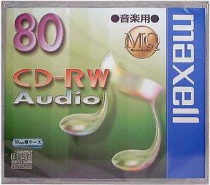 Maxell JAPAN Blank CD-RW Digital Audio Music 80min 1disc CDRWA80MQ.1TP