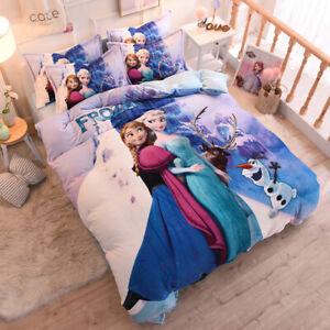 Disney Frozen 4-Piece Crystal Velvet Duvet Cover Set Anna Elsa Purple