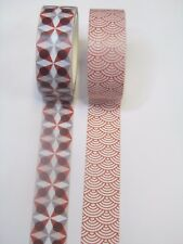 (w2) WASHI~PAPER~MASKING TAPE~SELF ADHESIVE~CRAFT~CARDS~ART~15mm x 5m~2 ROLLS~