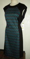 NINE WEST MS SIZE 14 TURQUOISE GREEN COMBO ZIG-ZAG PRINT FASHION SHEATH DRESS