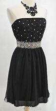 Soieblu dress Black mesh chic mini strapless boho bead shabby stretch sexy L NWT