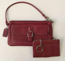 COACH Soho Leather Snap Buckle Red Clutch Wristlet Pouch + Coin Zip ID Key Ring