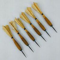 Vintage Wooden Steel Tip Darts Feather Flights Used Set of 6 Black Stripe