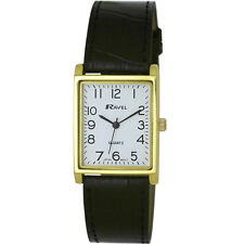 Ravel Ladies or Mens Classic Rectangular Dial Watch With Black Strap Gold Tone