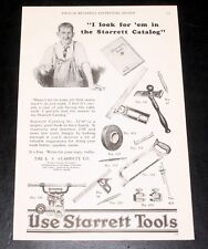 "1927 OLD MAGAZINE PRINT AD, TOOLS, ""I LOOK FOR 'EM IN THE STARRETT CATALOG""!"