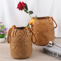 Foldable Seagrass Laundry Storage Baskets Hanging Flower Pots Rattan Organiz..