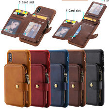 Case Cover Back Zipper Credit Card Wallet Pocket For iPhone XS Max XR X 7 8 Plus