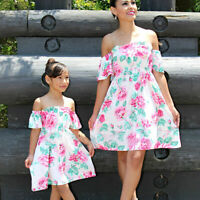 Mother Daughter Family Matching Dress Mommy and Me Flamingo Dresses Outfits US